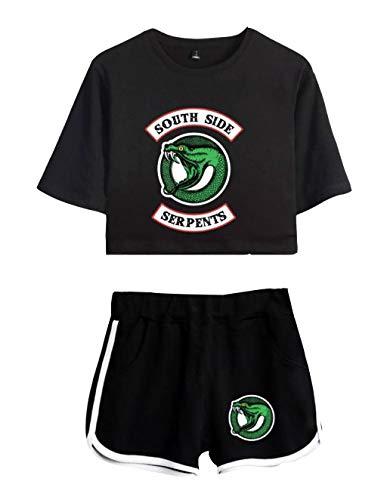 Camiseta y Pantalón Corto Riverdale Adolescente Chica Serpientes Camiseta de Manga Corta Verano Conjunto Deportivo para Niña y Mujere (2, XS)
