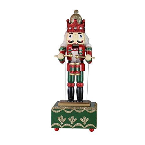 ZXCHB Christmas Music Box Soldado del Cascanueces cumpleaños de la decoración del Regalo de la Madera de Pino Cascanueces El batería Espadachín (Color : A)