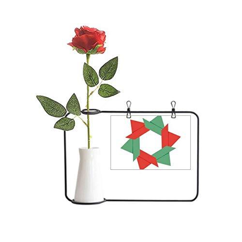 Beauty Gift Abstracto Flor de Navidad Origami Patrón Artificial Rosa Flor Colgante Floreros Decoración Botella