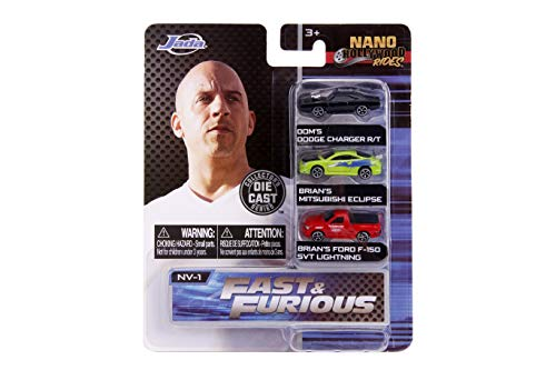 Jada - 31123 - Fast and Furious 3 Mini Modelle Auto Charger Eclipse und Pick Up F-150 Nano Hollywood Rides DIE CAST - Multicolor - 4cm