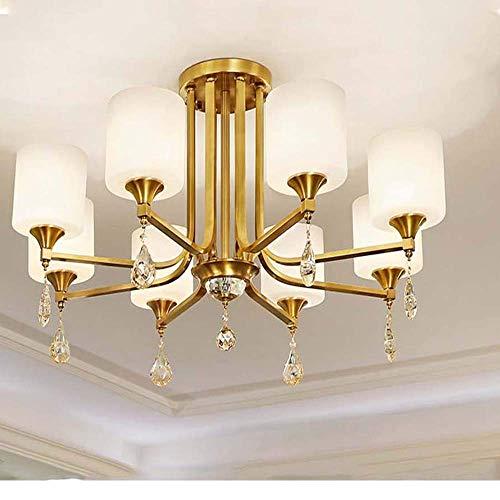 Todas Las lámparas de Techo LED de Cristal de Cobre Crystal Jade Living Estudio Dormitorio Lámpara Restaurante Comedor 93cm 52cm
