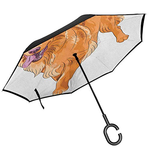 Golden Retriever Compact Travel Umbrella Playful Dog Running with a Smiling Face Best Friend and Companion Windproof Double Layer Folding Inverted Umbrella
