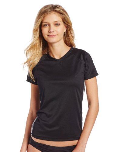 Kanu Surf Women's Short-Sleeve Rashguard, Black/Grey, Medium