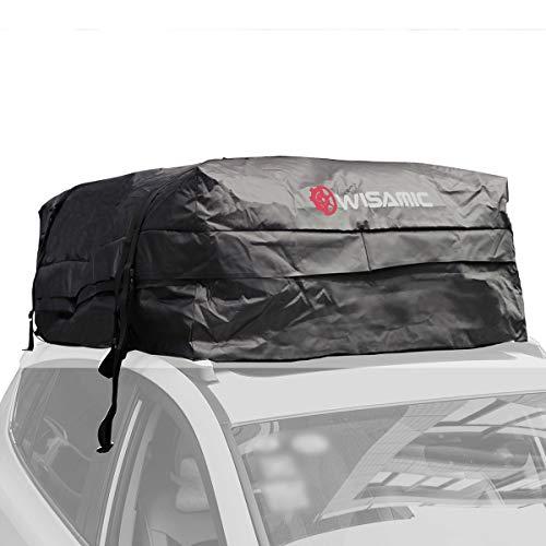 WISAMIC Auto Dachbox Faltbare Dachkoffer Aufbewahrungsbox 580 L Wasserdicht Dachtasche Dachgepäckträger Tasche Aufbewahrungsbox 30 Kubikfuß für Reisen und Gepäcktransport Schwarz