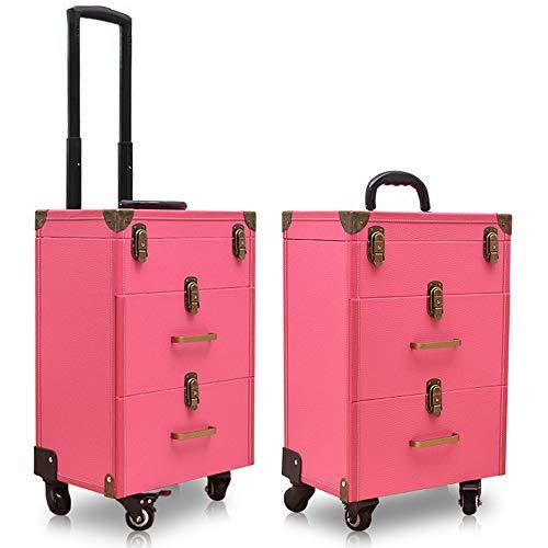Valise maquillage roulettes 2/3 niveaux valise train cosmétique verrouillable chariot coiffure salon beauté, bagages artiste voyage organisateur tatouage boîte tiroirs coulissants,Rose,20in