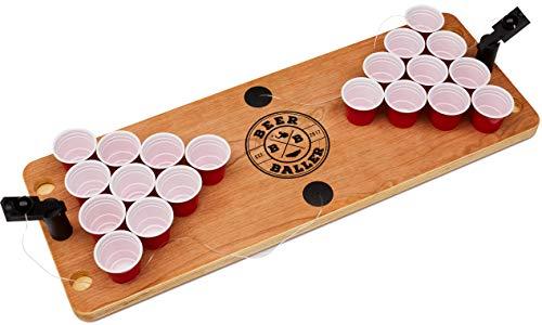 BeerBaller® Shot Pong Cherry | Hochwertiges Kirschholz | Wasserabweisend | Mini Beer-Pong Tisch als Trinkspiel für Party, JGA, Festival oder als Geschenkidee
