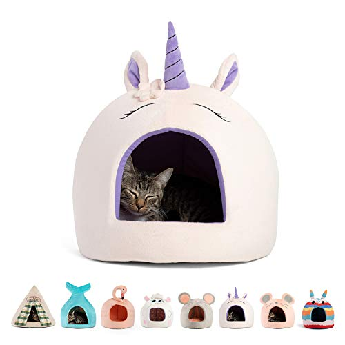 Best Friends by Sheri Novelty Pet Hut in Unicorn Pink - 360 Degree Coverage for Comfort and Security, Washable, for Pets up to 15lbs.