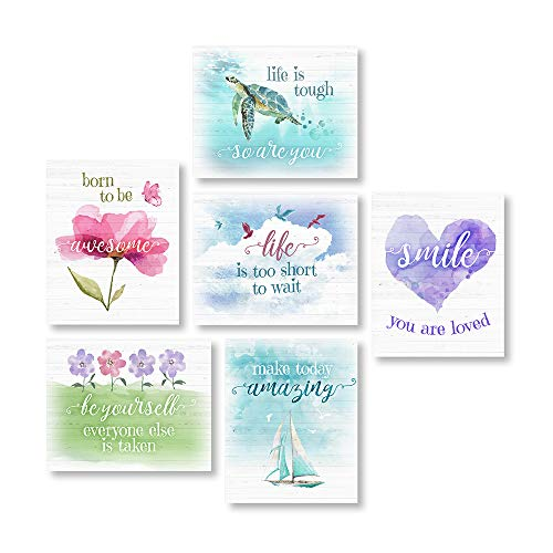 6 Unframed 8'X10' Pieces of Inspirational Wall Decor. These Inspirational Posters for Girls Room Are Made Up of Cute, Colorful Quote-Based Prints That Provide Positive, Motivational Reminders Each Day