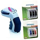 Dymo Omega Etikettenprägegerät für den Heimbedarf (Omega + 6er Etikettierband schwarz + bunt)