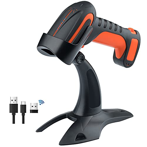 Tera Pro (Extreme Performance) Industrial Wireless Barcode Scanner 2D QR 1D Bar Code Reader 2.4G Wireless 2500mAh Compatible with Bluetooth Drop Resistant for Windows Mac Android iOS Model 8100 Orange