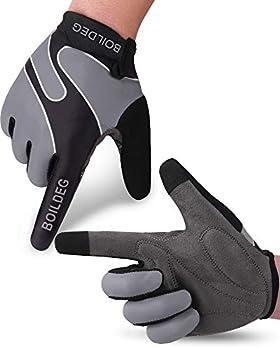 boildeg Cycling Gloves Mountain Bike Gloves MTB Gloves Bicycle Dirt Bike Gloves for Men Women Full Finger Touch Screen Biking Gloves Anti-Slip Shock-Absorbing Gel Pad Workout Gloves  Grey XXL
