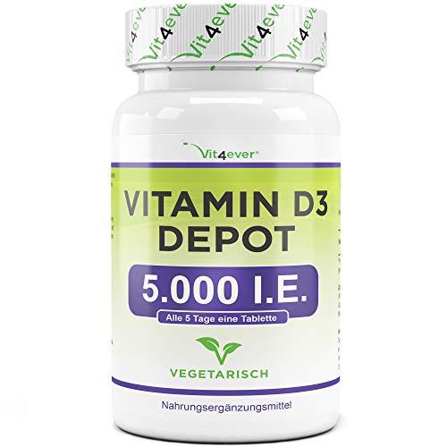 Vitamin D3 5000 I.E. Depot - 500 Tabletten - Hochdosiert - Laborgeprüft - Vegetarisch - Hohe Reinheit - 5 Tagesdosis 1000 I.E. pro Tag - Premium Qualität