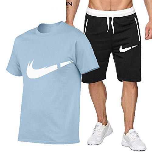 DREAMING-Hombres transpirables jogging deportes verano algodón de manga corta fitness casual camiseta top + shorts traje de pantalones de cinco puntos L