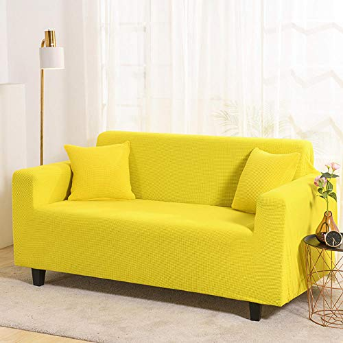 HXTSWGS elastische Sofahusse Sofa Abdeckung,Corn kernels Sofa Cover, Two-seat Three-seat Sofa Cover-Yellow_Pillowcase