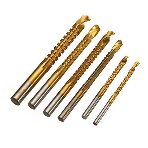 BAIJIAXIUSHANG-TIES Metalworking 6pcs HSS Titanium Coated Drill Bit Set Hole Cutter Cutting Carpenter Hex Shank Drill Bits 3-8mm Drill