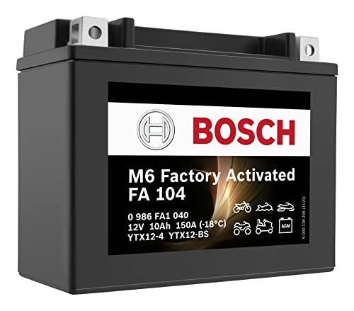Bosch 0986FA1040 Batería de Motocicleta 10 Ah 150 A con tecnología Gel de Arranque en Calidad OEM, Resistente a los ciclos, se Puede almacenar y no Requiere Mantenimiento, Negro, 10Ah-YTX12-BS