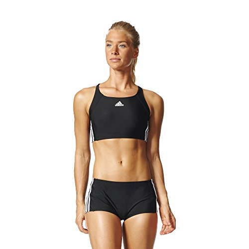adidas Damen Infinitex Essence Core 3-Stripes Bikini, Black/White, 40