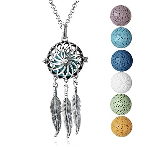 mEssentials Dream Catcher Lava Stone Essential Oil Diffuser Necklace Gift Set - Includes Aromatherapy Pendant, 24' Stainless Steel Chain, 6 Color Lava Stones