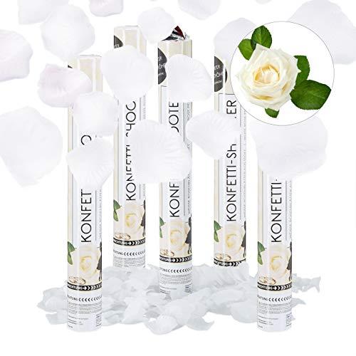 Relaxdays 5X Lanceur de confettis Canon 40 cm décoration Mariage Anniversaire fête portée 6-8 m pétales Roses Blanches, Blanc