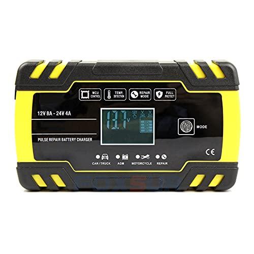 LVYE1 MRMF Cargador De Batería De Coche, 12V 24V Cargador De Batería Cargador De Batería Completamente Automático con Pantalla LCD Y Modo De Microprocesador