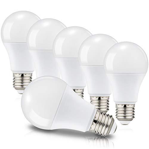 Lot de 6 Ampoules LED E27 A60 Equivalent à incandescence 60W, Culot Edison à vis, 3000K Blanc chaud, 820 Lm, 220-240V, Non-Dimmable