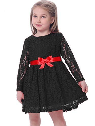 BONNY BILLY Dziewczęca sukienka z długim rękawem, koronka, odświętna, wesele, sukienka zimowa sukienka dziecięca z kokardką