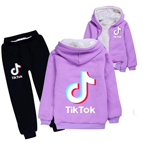NIGHTMARE Langarm Pullover Hoodie 2 Stück Outfits Set TikTok Modepullover TikTok Mode Baumwolle Winter Jungen und Mädchen Mantel Anzug 130cm