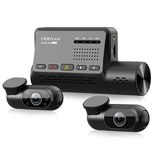 VIOFO A139 3 Kanal Wifi Dashcam, Handyüberwachung, GPS Eingebaut mit CPL Filter, 1440P + Dual 1080P Auto Kamera, 2560P X 1440P 60fps Vorn, 24h Puffer Parkmodus Dash Cam, IR Nachtsicht, Bis zu 256GB