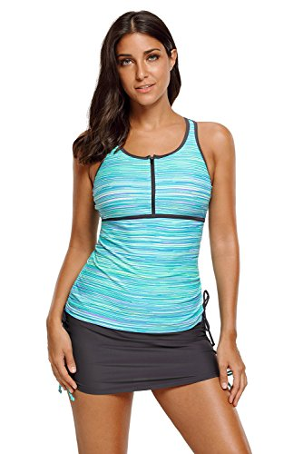 Swimsuits for Women │Adjustable Print Two Piece Tankini Set│Bathing Suits Sports Swimwear (Green-410455, Large (US 12-14))