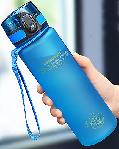 Botella de Agua 500ml 1000ml BPA a Prueba de Fugas Libres para Botellas de Bebidas Deportivas Gimnasio ecológico,Azul,650ml