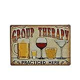 TOYANDONA Cartel de Placa de Carteles de Chapa Vintage Retro de Metal para Cafe Bar Pub Club de Cerveza Decoración de Hogar Terapia Grupal Practicada Aquí Placa