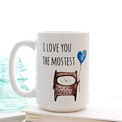 Ad4ssdu4 Ich Liebe Dich am meisten mit Blue Heart Balloon koffiemok voor Valentijnsdag