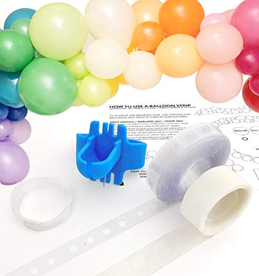 Tool Kit Balloon Garland Arch Decoration Strap Tape with Instructions, 16 ft Reusable Tape, Tie Tool, 100 x Dot Glue, Clear String, Instruction, Streamer, Wedding Birthday Baby Shower Photobooth Party