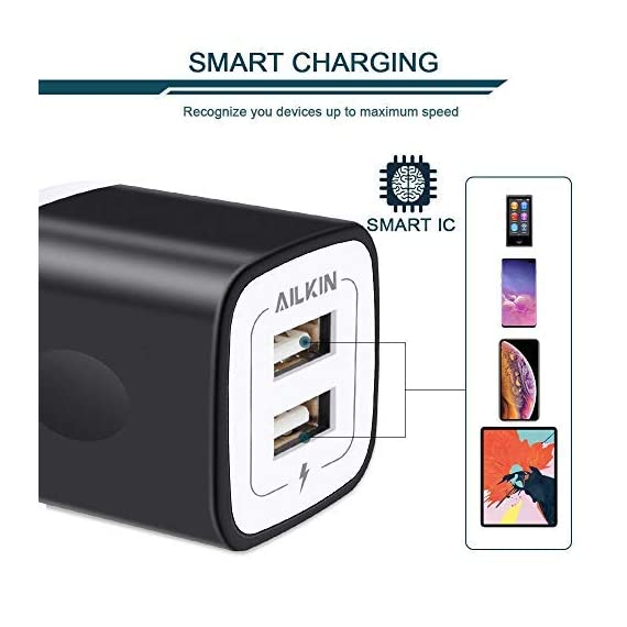 USB Wall Charger, Charger Adapter, Ailkin 2.4Amp Dual Port Foldable Quick Charger Plug Cube Replacement for iPhone 11/X/XR/XS MAS/8, Samsung Galaxy, LG, HTC, Huawei, Moto, Kindle 4 Premium Performance: Dual-USB output with total current 5V/2.1A and input with 100-240V enables you to charge two mobile devices simultaneously at high speed.It can really save your time. Safety assurance: AILKIN'S charger has protection system against over charging, over currents, and over heating. The charger will automatically stop charging when power is full, which can maximumly protect your device. Lightweight:Home charger adapter allows charging at home or in the office via USB cable connection. Simply plug in the USB cable, and plug the adapter into the wall. Compact, lightweight, portable, stylish, easy to store.