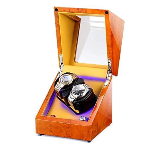 SYWJ Antimagnético Enrollador de Reloj de Madera con Almohadillas de Reloj Suaves y Flexibles 2 Espacios sinuosos Iluminación LED incorporada Motor silencioso para 2 Relojes