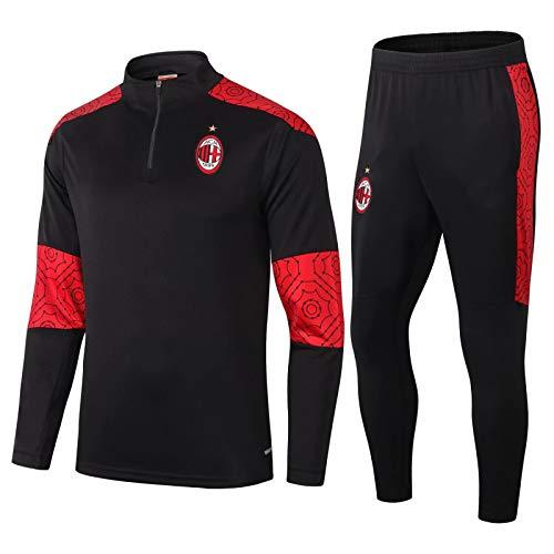 Znesd 2020-2021 Club di Calcio, AC Milan Football Addestramento Camicia da Uomo Uniforme, Abbigliamento Sportivo, Abito da Allenamento, Abito da Competizione (Size : L)