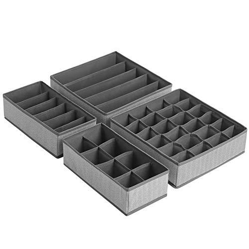SONGMICS Aufbewahrungsboxen für Unterwäsche, 4er Set, Schubladen-Organizer, faltbar, Faltboxen, Stoffboxen, für Socken und Krawatten, Vliesstoff in Leinenoptik, platzsparend, grau RUS004G01