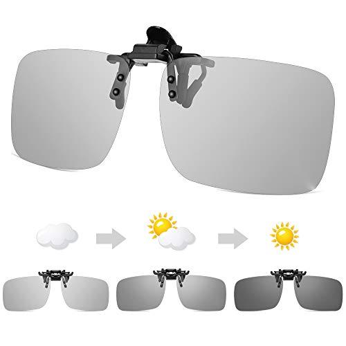 Photochromic Polarised Sunglasses Clip-on,UV400 Flip up Anti-Glare Driving Glasses for Mens...