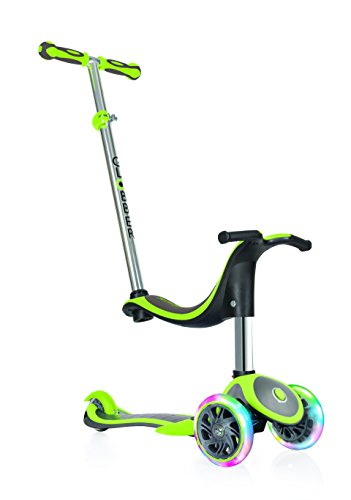 Globber niños de EVO Plus 4-en-1 con Light Up Ruedas Scooter, Infantil, EVO 4-in-1 Plus with Light Up Wheels, Lime Green, n/a