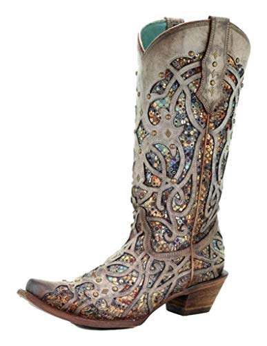 CORRAL Women's Taupe Inlay Western Boot Snip Toe Taupe 10 M