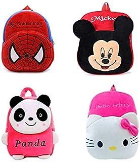 Zoya Toys Combo 4 Bag Panda,Cute Kitty,Mickey,Red-Spider of Kids Bags for School 10Ltr Baby/Boys/Girls Velvet Backpack for...