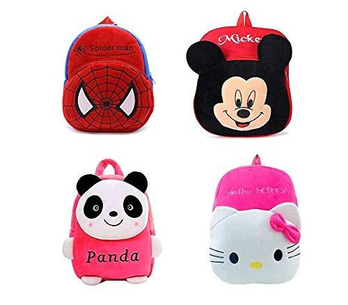 Combo 4 Bag Panda,Cute Kitty,Mickey,Red-Spider of Kids Bags for School 10Ltr Baby/Boys/Girls Velvet Backpack for Girlfriend/Birthday Gift/Boy/Girl