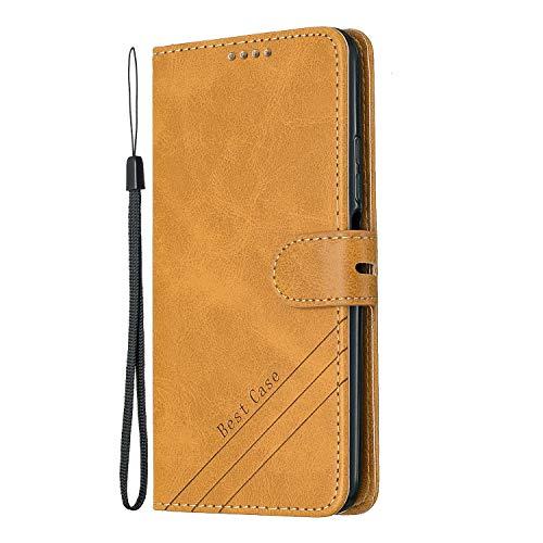 Tosim Huawei Honor 20Pro Hülle Klappbar Leder, Brieftasche Handyhülle Klapphülle mit Kartenhalter Stossfest Lederhülle für Huawei Honor 20 Pro - TOHEX120285 Gelb