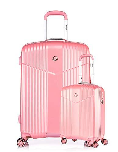 ABISTAB VERAGE V-LITE Ultraleicht Hartschalenkoffer Ab 1,9kg 4 Doppelrollen TSA Schloss, Reisekoffer Gepäck-Set 2 teilig S L mit Handgepäck-Koffer ABS/PC Trolley, Pink
