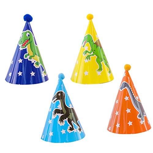 Toyvian Partyhüte, 4 Pack Papier Kegel Hut Dinosaurier Theme Birthday Party Dekoration Lieferungen