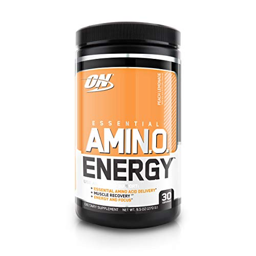 Optimum Nutrition Amino Energy - Pre Workout with Green Tea, BCAA, Amino Acids, Keto Friendly, Green Coffee Extract, Energy Powder - Peach Lemonade, 30 Servings
