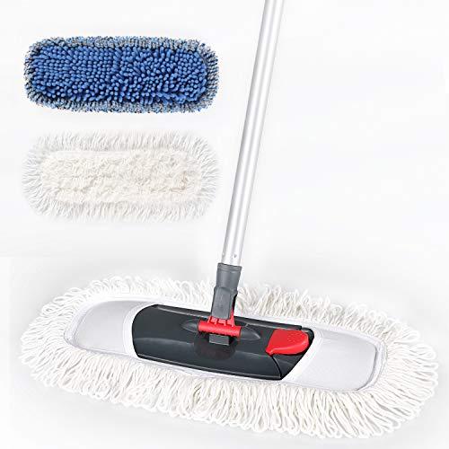 Cleanhome モップ 綿系 フロアモップ フローリング 回転モップ フロアワイパー 床掃除 フラットモップ 乾湿両用可 360度回転 床拭き 掃除道具 風呂掃除 片手操作可能 腰曲げず 交換可能 シェニール糸 綿系 クロス 2枚付