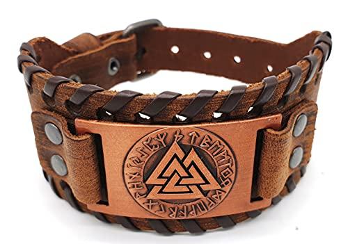 Pulsera Vikinger Valknut con nudo de votan, piel y metal, marrón cobre