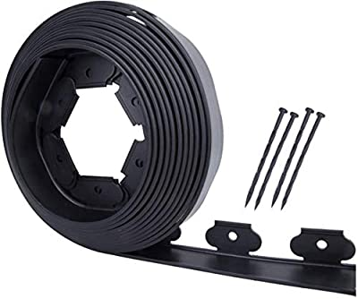 Mr Garden Landscape Garden Edging Kit No-Dig 80ft Length with 16 Spikes, PE Plastic Landscape Edging roll Heavy Duty Edging Fence for Flower Beds, Tree Rings and Garden Borders, Black
