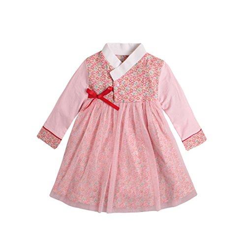 Pauboli Baby Mädchen koreanische Kleidung lange Ärmel Strampler Kleid Korean Hanbok Playwear Gr. 9-15 Monate, rose